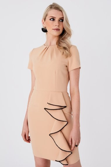Alina Sakura Nude Frill Bodycon Dress