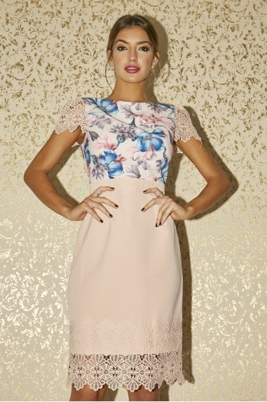 Solna Pink Floral-Print Lace-Trim Dress