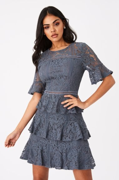 Bibi Slate Grey Tiered-Lace Shift Dress