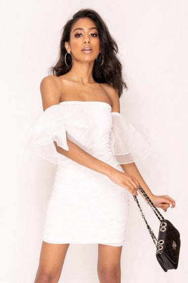 White Tulle Sleeve Bandeau Mini Dress