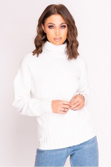 White Turtle Neck Knitted Jumper