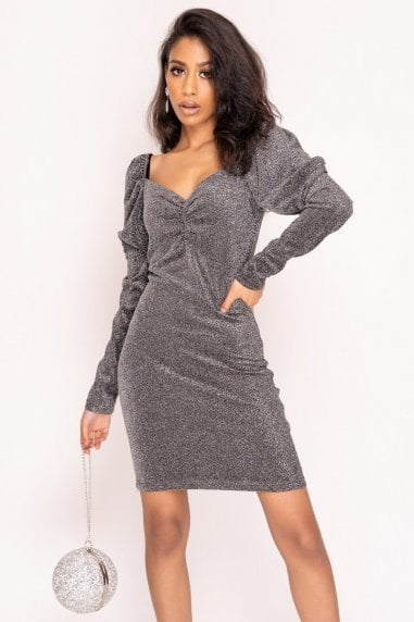 Silver Puff Sleeve Sparkle Mini Dress