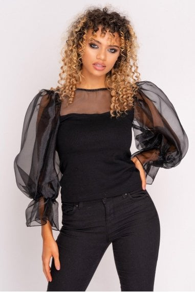 Black Mesh Puff Sleeve Top