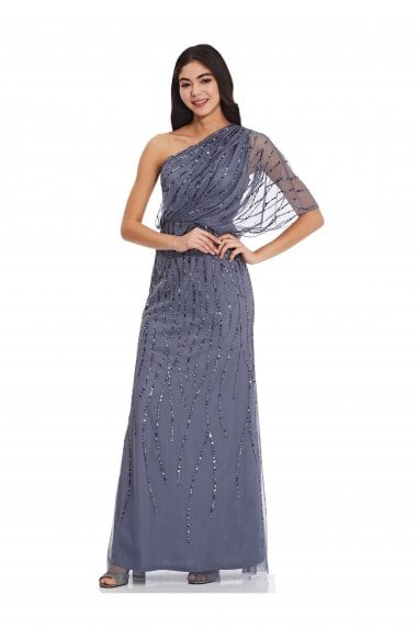 Long One Shoulder Beaded Dress
