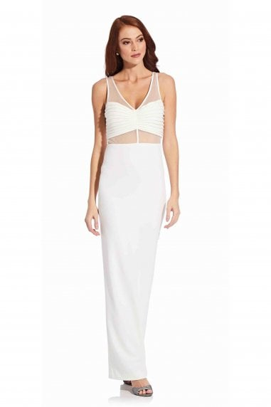 Illusion Crepe Column Gown