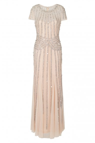 Helma Blush and Silver Stripe Embellished Maxi Dress