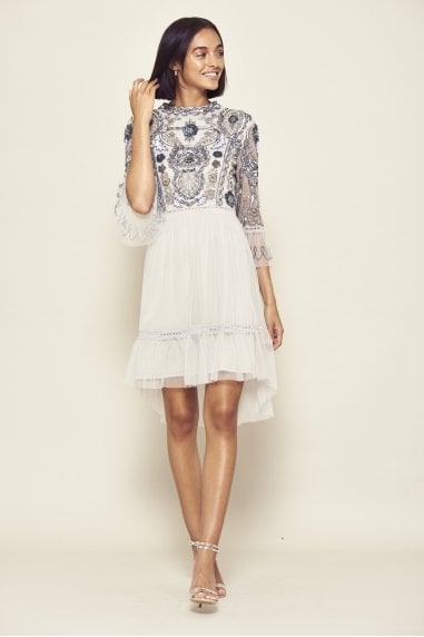 Isobelle Embellished 3/4 Sleeve Dip Hem Dress