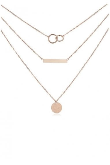 Layered Sterling Silver Plated Bar & Circle Necklace