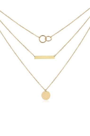 Layered 18k Rose Gold Plated Bar & Circle Necklace