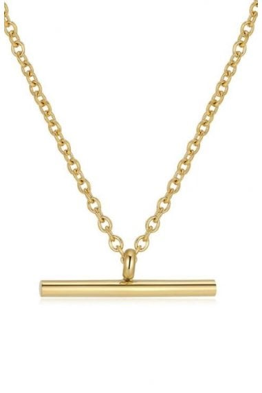 18k Gold Plated Fine T-Bar Pendant Chain Necklace