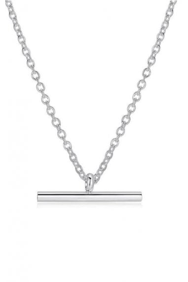 Sterling Silver Plated Fine T-Bar Pendant Chain Necklace