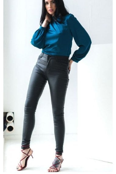 Leather Look Wax Coated Trousers