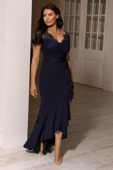 SISTAGLAM LOVES JESSICA WRIGHT AMIANNE NAVY LACE TOP DRESS
