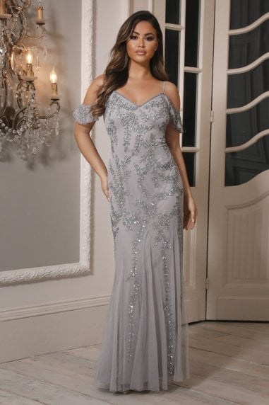 Sistaglam Mettia Silver Cold Shoulder Sequin Embellished Dress