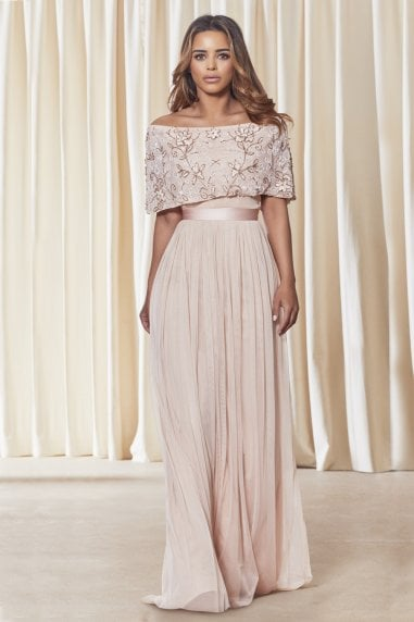 SISTAGLAM IRIANA PINK OFF THE SHOULDER MAXI DRESS
