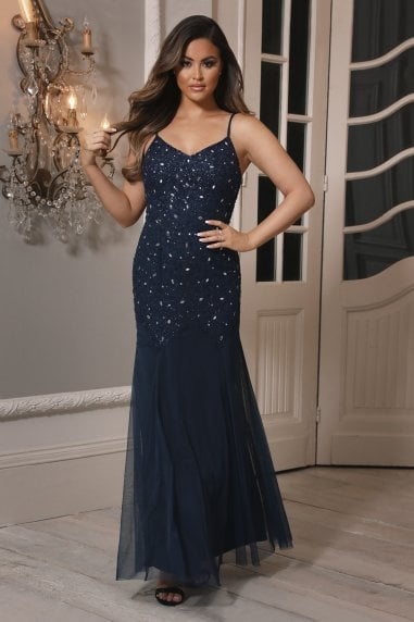 Sistaglam Loren Navy Embellished Maxi Dress