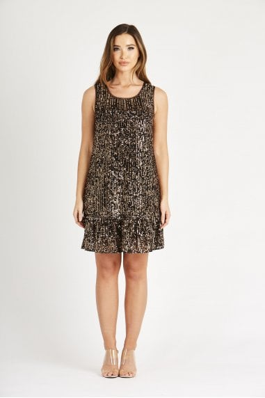 Copper Sequin Dress with Frill
