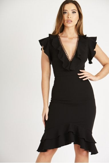 Pretty Black Dress with Ring Accessories and Frill