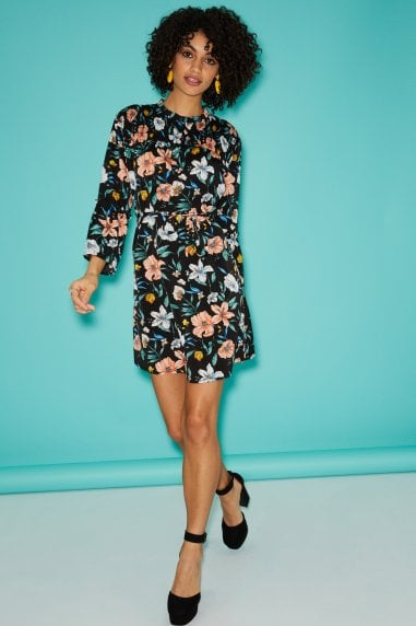 Black Floral-Print Shift Dress