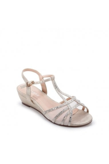 Glitter 'Jilly' Extra Wide Fit Low Wedge Sandal
