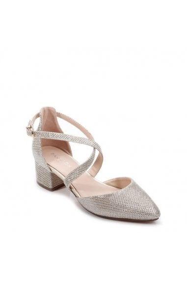Glitter Mesh 'Francis' Wide Fit Low Heel Two Part Shoe