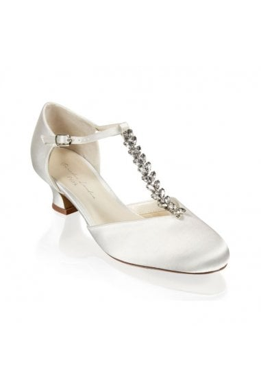 Satin 'Alva' Trim Detal Low Heel Shoe