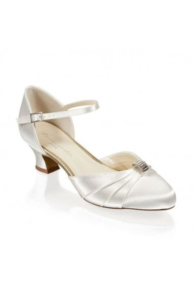 Satin Dyeable 'Avalyn' Wide Fit Two Part Low Heel Shoe