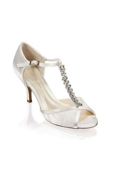 Satin and Lace 'Beth' Two Part High Heel Peep Toe Shoe