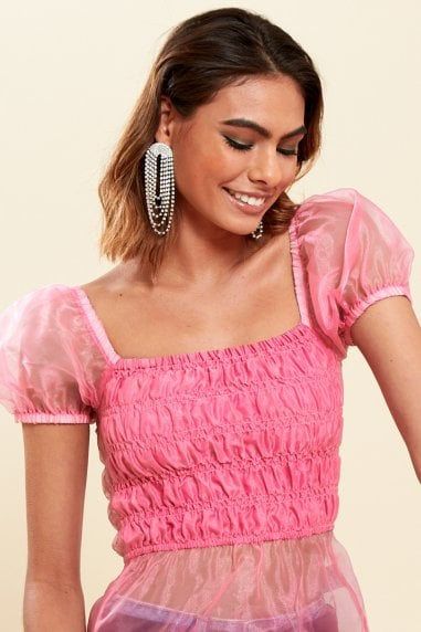 Pink Satin Milkmaid Ruched Panel Top
