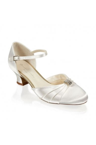 Satin Dyeable 'Addie' Two Part Low Heel Shoe