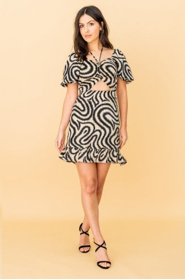Cut Out Mini Dress in Cream Swirl Print