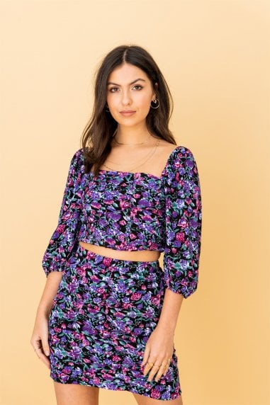 Purple Floral Square Neck Top and Skirt (Co-ord Set)