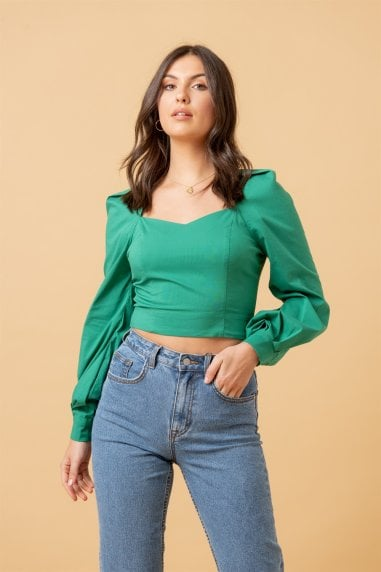 Sweetheart Neck Cotton Poplin Blouse in Green