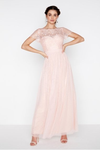 Esme Eyelash Lace Top Maxi Dress