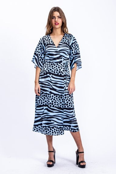 Midi Wrap Dress in Blue Animal Print