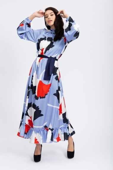 Ruffle Hem Maxi Dress in Blue Floral