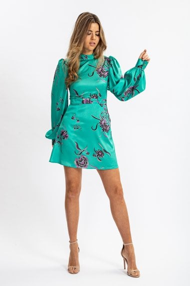 Balloon Sleeve Mini Dress In Green Floral Print