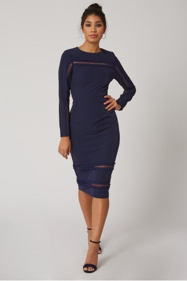 Napa Navy Lace-Trim Bodycon Dress