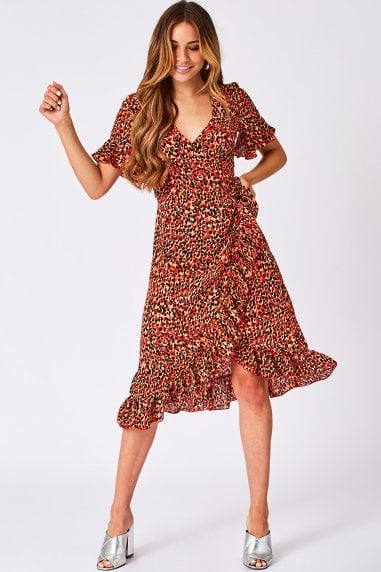 Aubrey Orange Leopard-Print Midi Wrap Dress