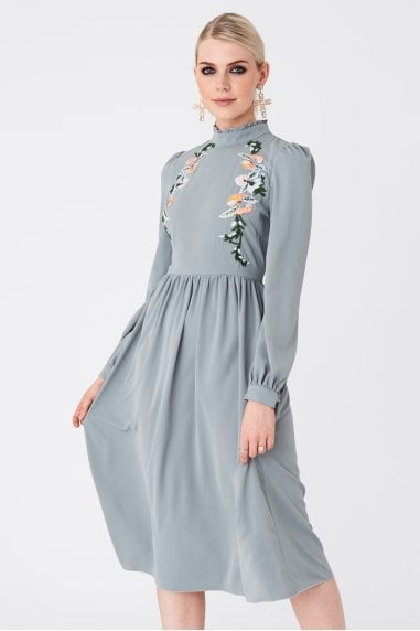 Jeana Pistachio Floral-Embroidered Midi Dress