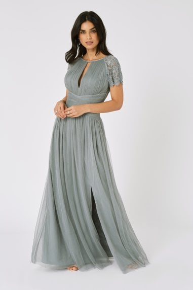 Bridesmaid Luanna Pistachio Embellished Lace Sleeve Maxi Dress