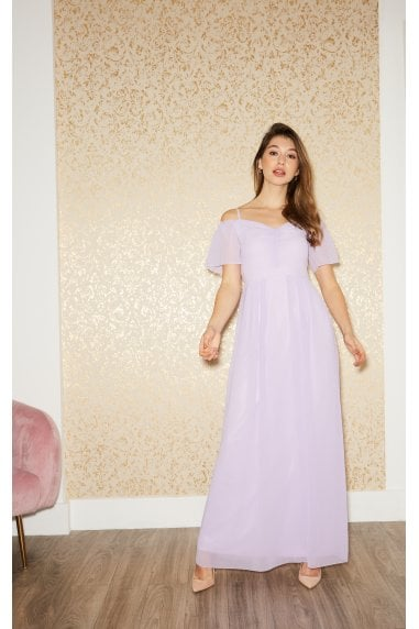 Vita Lilac Cold-Shoulder Maxi Dress