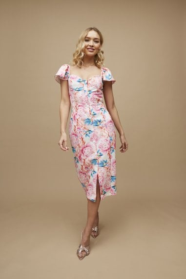 Carson Pink Peony Floral-Print Sweetheart Midi Dress