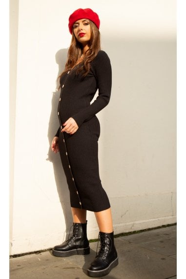 Sofia Knitted Long Sleeve Midi Dress with Buttons in Black