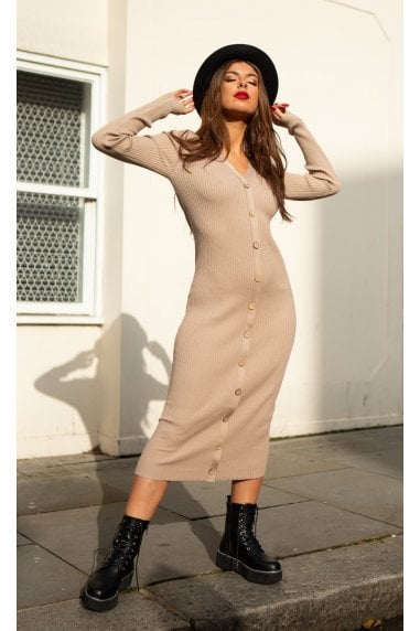Sofia Knitted Long Sleeve Midi Dress with Buttons in Beige