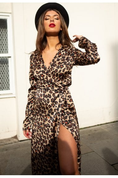 Suki Long Sleeve Wrap Midi Dress in Leopard Print