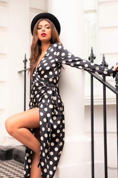 Suki Long Sleeve Wrap Midi Dress- Polka Dot Print