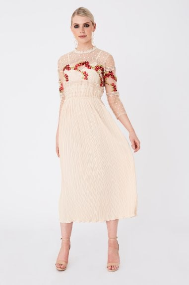 Hana Nude Floral-Embroidered Midaxi Dress