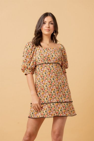Square Neck Puff Sleeve Mini Dress In Multi Floral