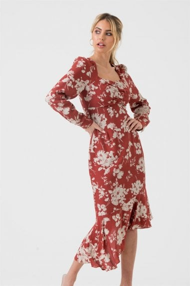 Square Neck Long Sleeve Midi Dress In Red Floral